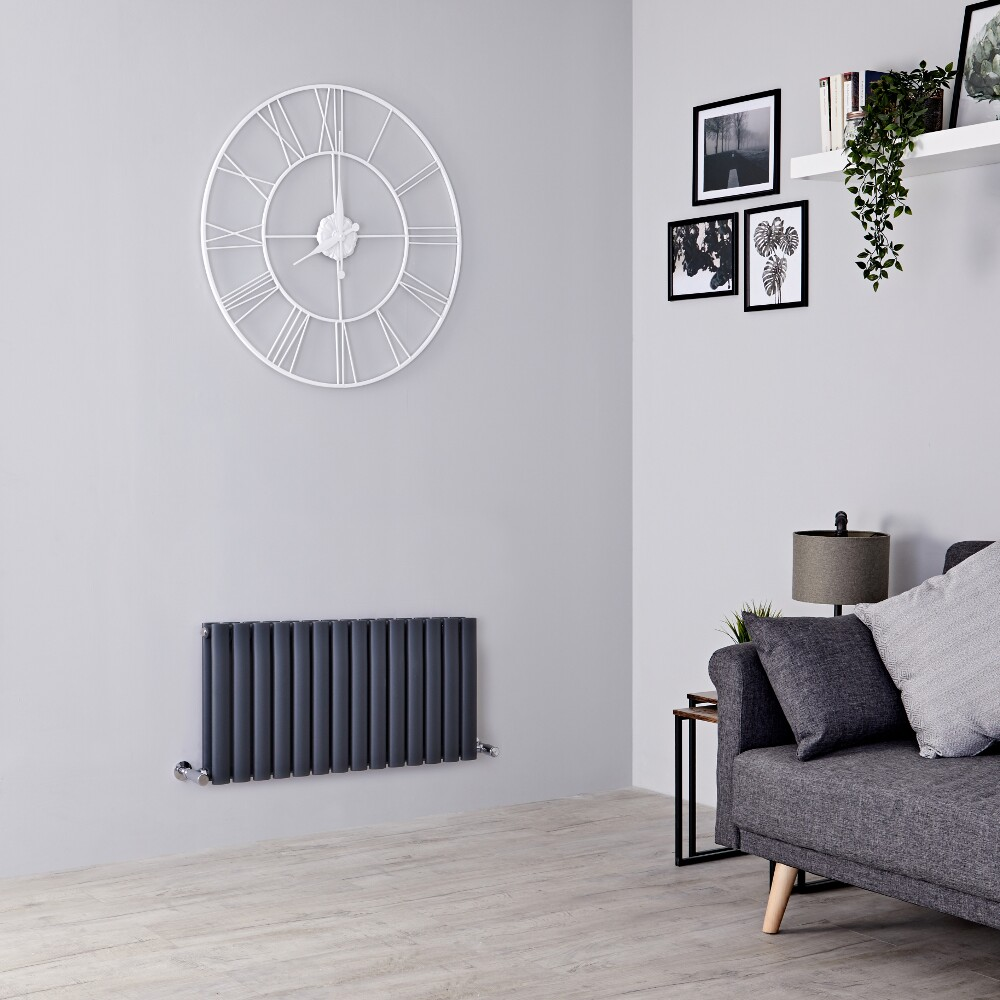 Milano Aruba - Anthracite Horizontal Designer Radiator - 400mm x 834mm (Double Panel)