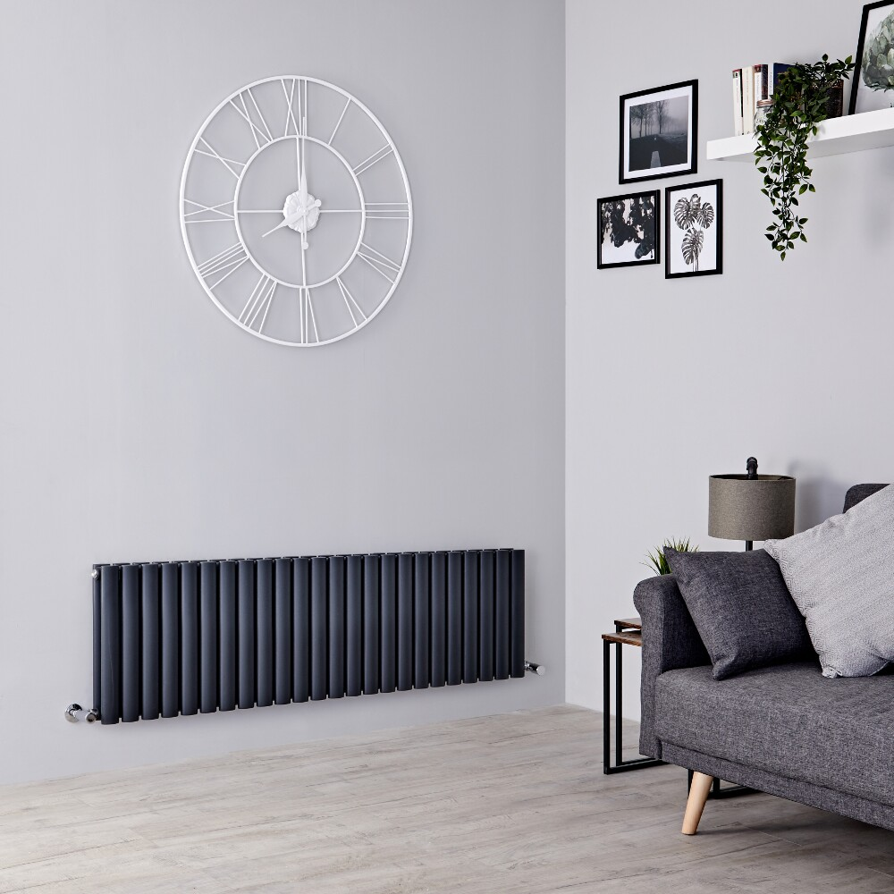 Milano Aruba - Anthracite Horizontal Designer Radiator - 400mm x 1411mm (Double Panel)