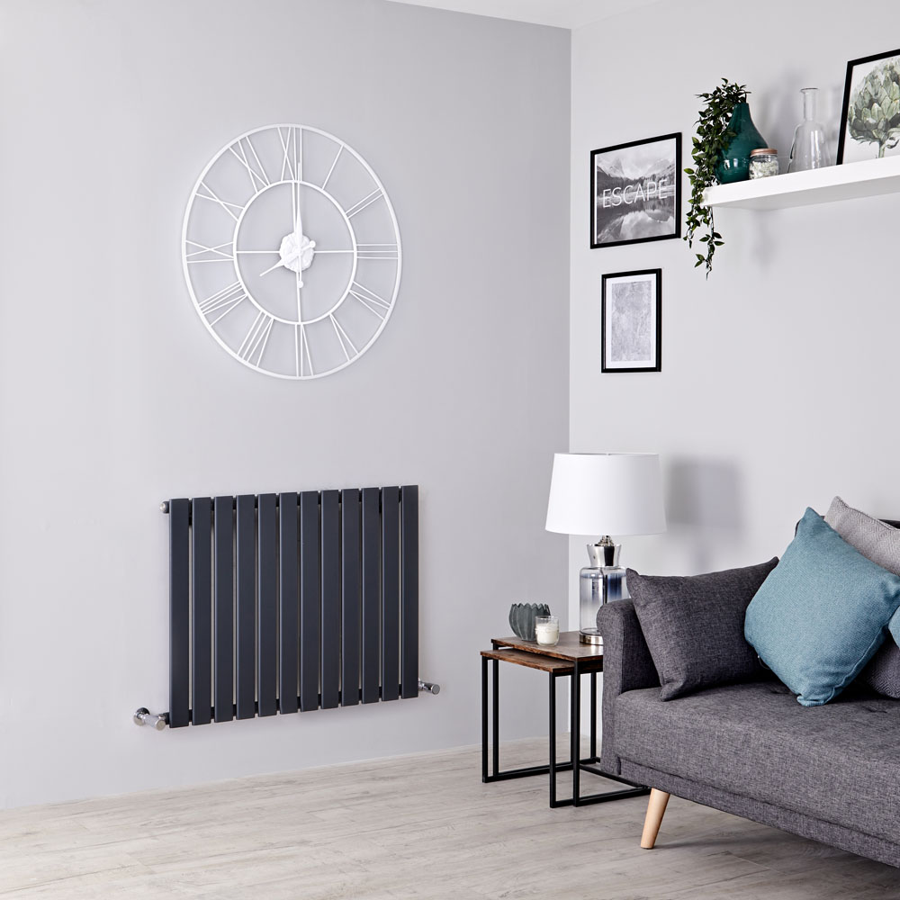 Milano Alpha - Anthracite Flat Panel Horizontal Designer Radiator - 635mm x 840mm