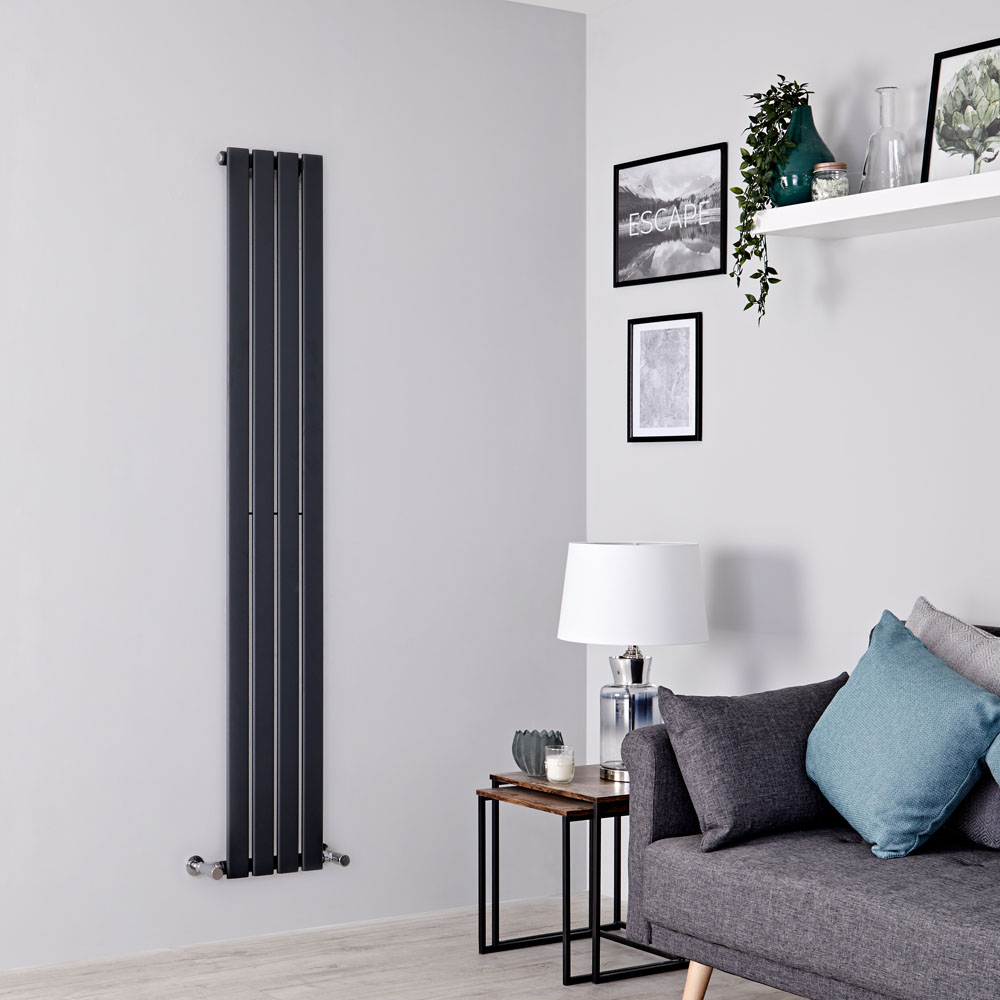 Milano Alpha - Anthracite Flat Panel Vertical Designer Radiator - 1600mm x 280mm