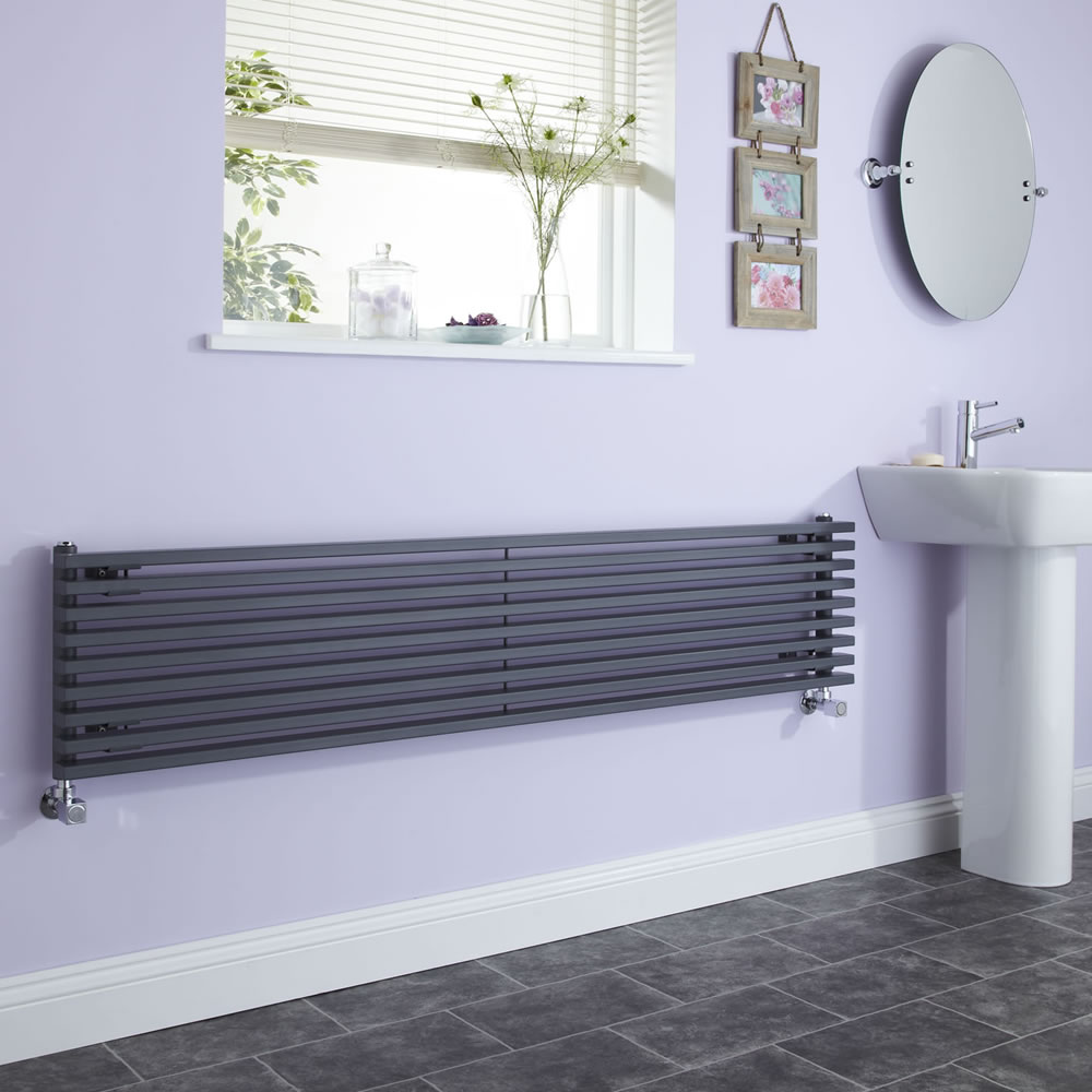 Milano Cayos - Anthracite Horizontal Designer Radiator Sideways Panels - 342mm x 1600mm