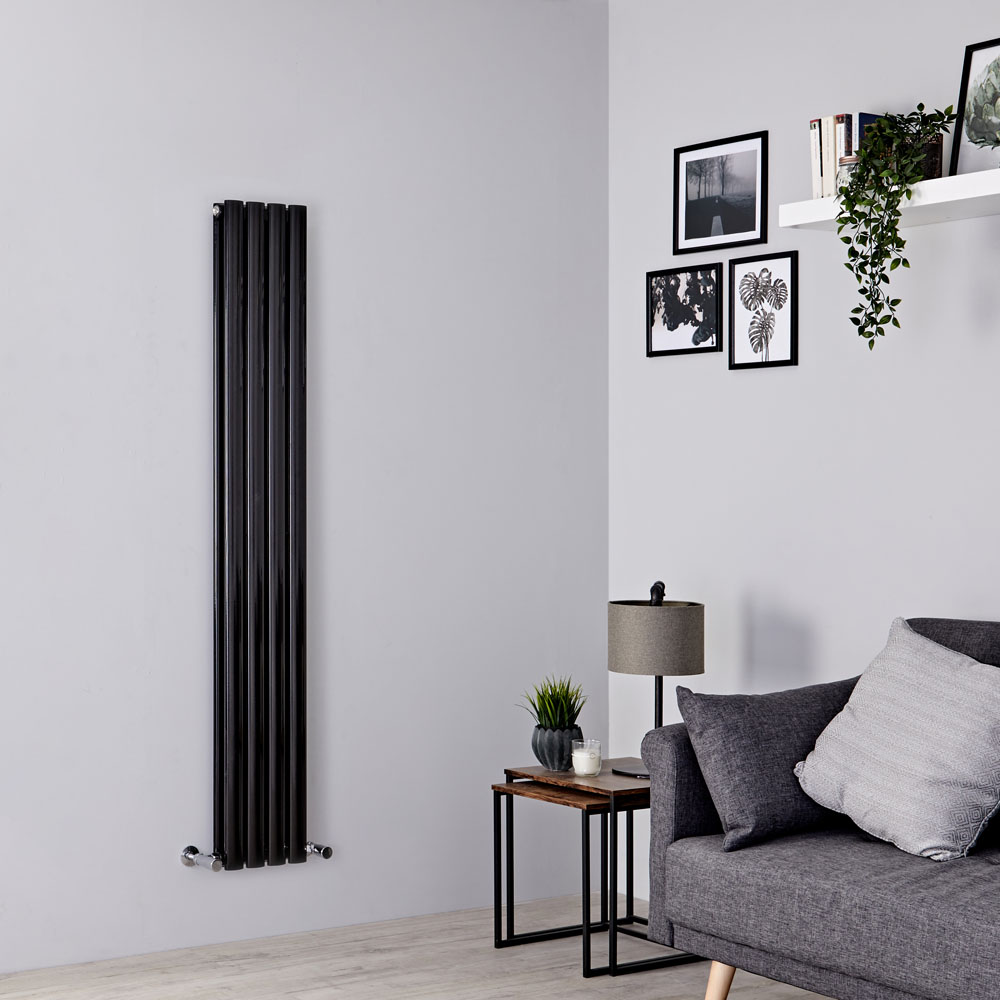 Milano Aruba - Black Space-Saving Vertical Designer Radiator - 1600mm x 236mm (Double Panel)