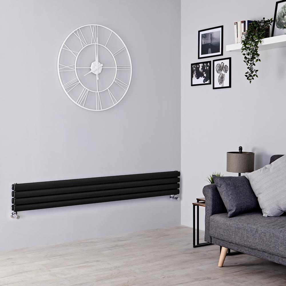 Milano Aruba Slim - Black Space-Saving Horizontal Designer Radiator - 236mm x 1600mm (Double Panel)