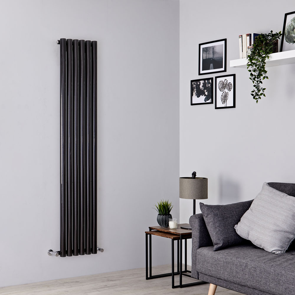 Milano Java - Black Vertical Designer Radiator - 1600mm x 354mm
