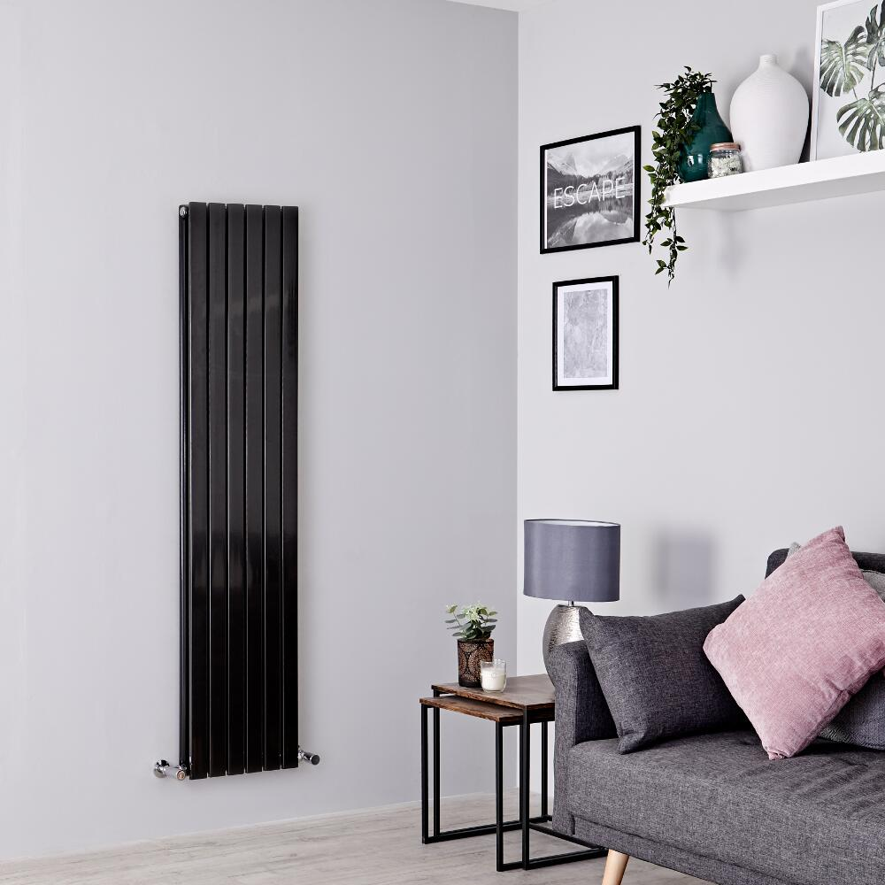 Milano Capri - Black Flat Panel Vertical Designer Radiator - 1600mm x 354mm (Double Panel)