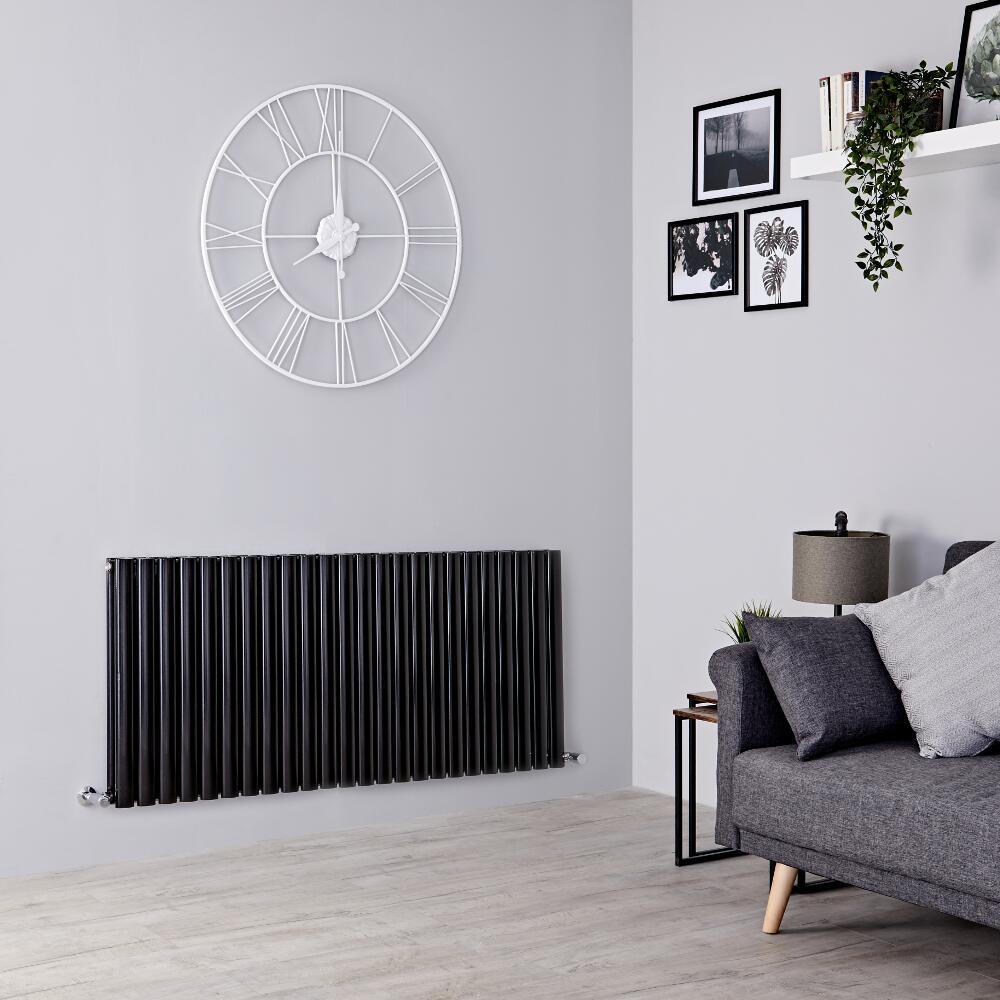 Milano Aruba - Black Horizontal Designer Radiator - 635mm x 1411mm (Double Panel)
