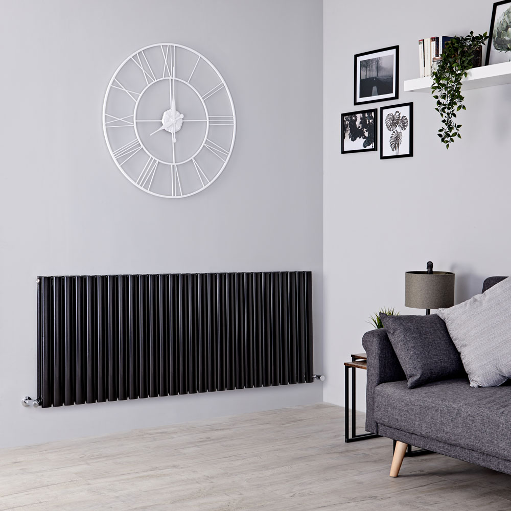 Milano Aruba - Black Horizontal Designer Radiator - 635mm x 1647mm (Double Panel)