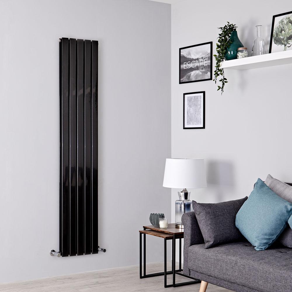 Milano Alpha - Black Flat Panel Vertical Designer Radiator - 1600mm x 350mm (Double Panel)
