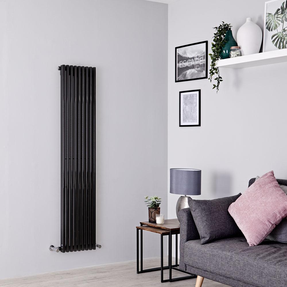 Milano Cayos - Black Vertical Designer Radiator - 1600mm x 342mm