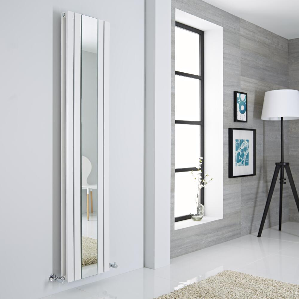 Milano Icon - White Vertical Designer Radiator With Mirror - 1800mm x 385mm