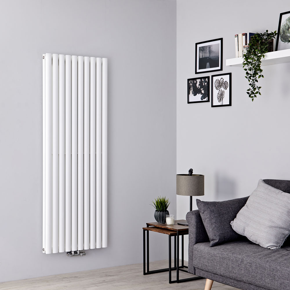 Milano Aruba Flow - White Vertical Middle Connection Designer Radiator - 1600mm x 590mm (Double Panel)