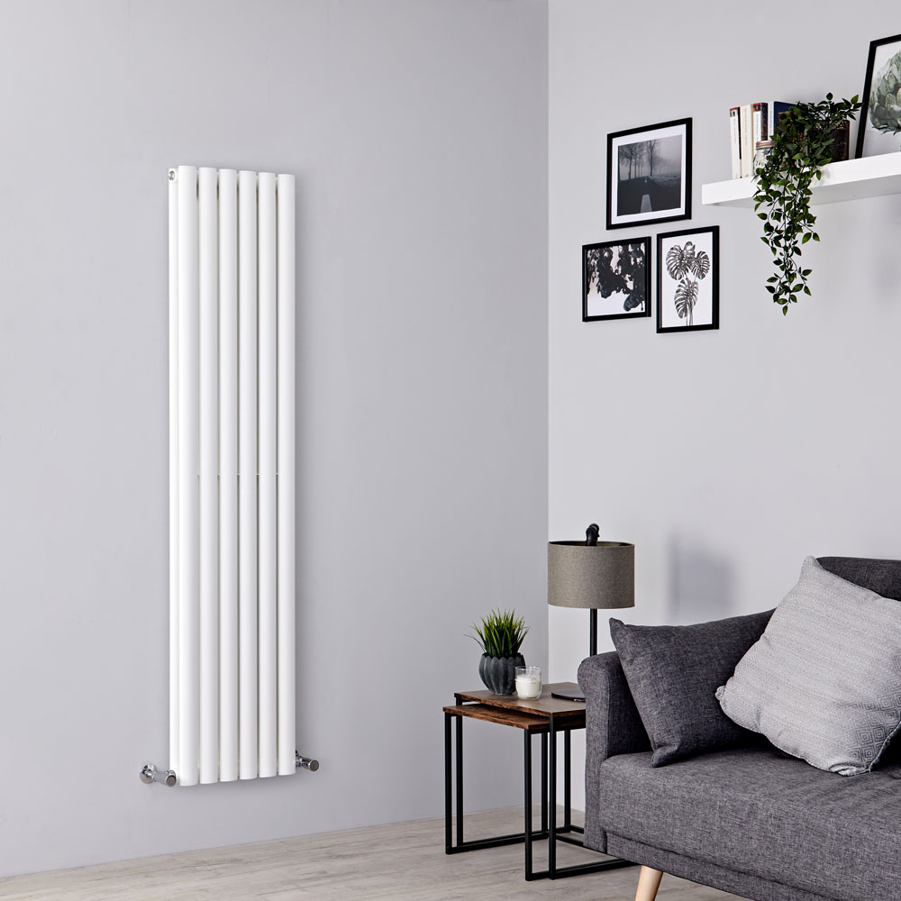 Milano Aruba - White Vertical Designer Radiator - 1600mm x 354mm (Double Panel)