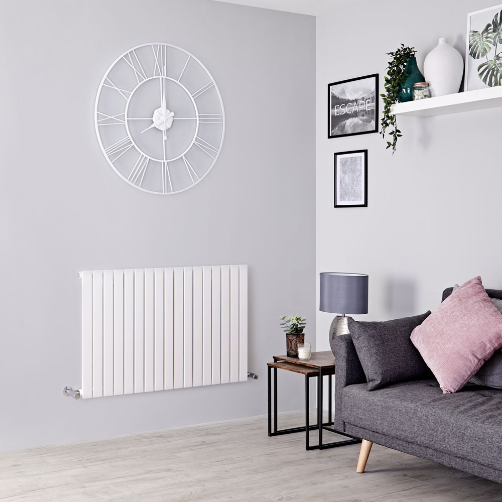 Milano Capri - White Flat Panel Horizontal Designer Radiator - 635mm x 1000mm