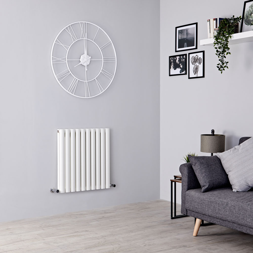 Milano Aruba - White Horizontal Designer Radiator - 635mm x 590mm (Double Panel)