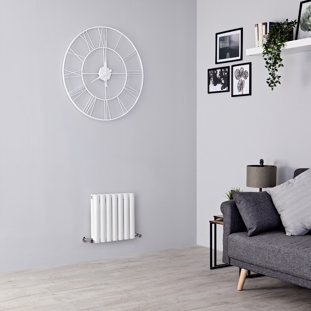 Milano Aruba - White Horizontal Designer Radiator - 400mm x 415mm (Double Panel)