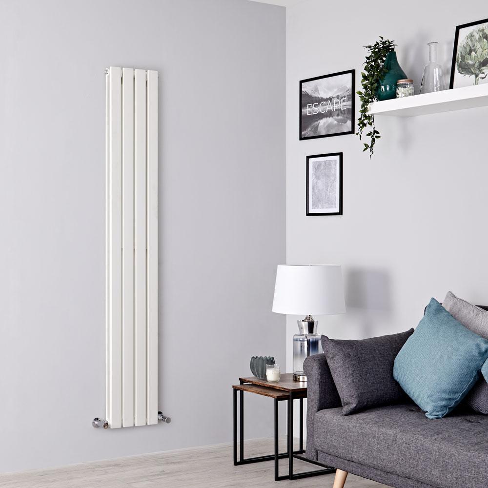 Milano Alpha - White Flat Panel Vertical Designer Radiator - 1600mm x 280mm (Double Panel)