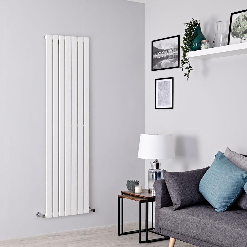 Milano Alpha - White Flat Panel Vertical Designer Radiator - 1600mm x 490mm