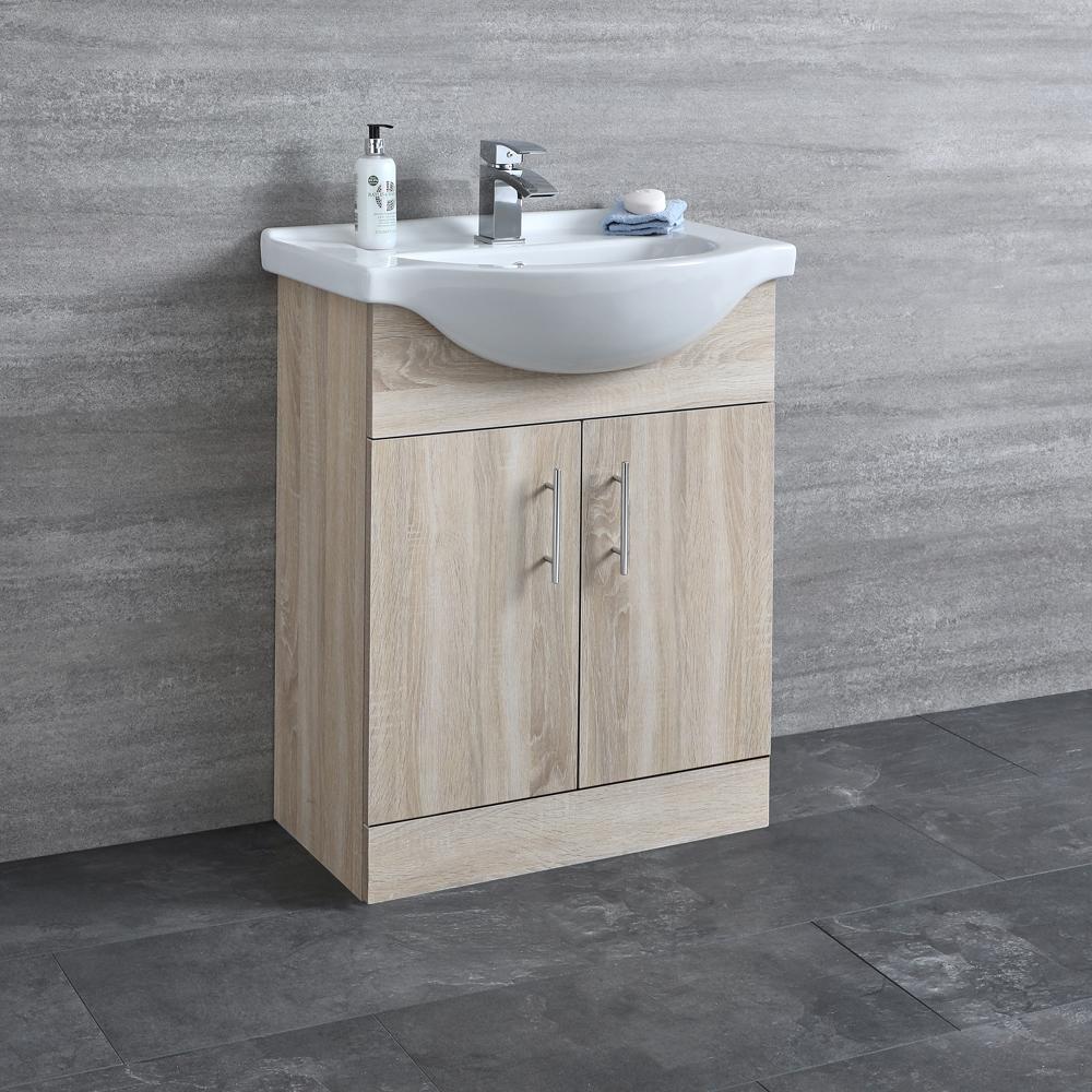 Milano Arch - Oak 650mm Floor Standing Vanity Unit with Basin