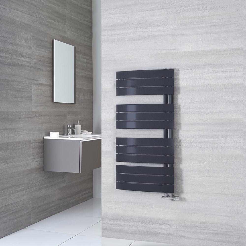 Milano Azore - Anthracite Designer Heated Towel Rail - 1080mm x 550mm