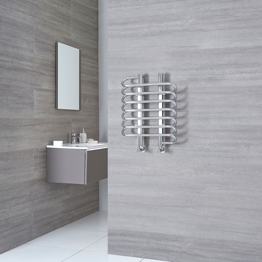 Milano Select - Chrome Designer Heated Towel Rail - 610mm x 500mm