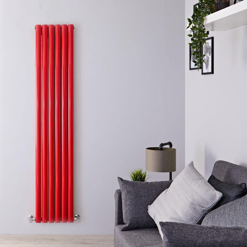 Milano Aruba - Red Vertical Designer Radiator - 1800mm x 355mm (Double Panel)