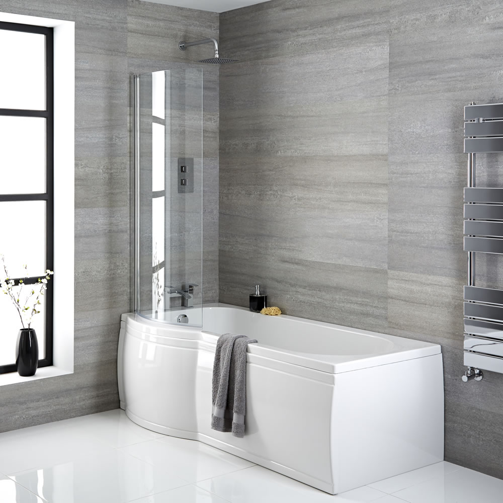 Milano Newby - 1675mm x 850mm P Shape Curved Shower Bath with Panels and Screen - Left Hand