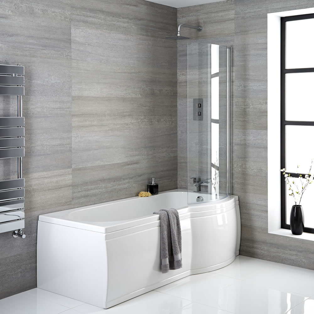 Milano Newby - 1675mm x 850mm P Shape Curved Shower Bath with Panels and Screen - Right Hand