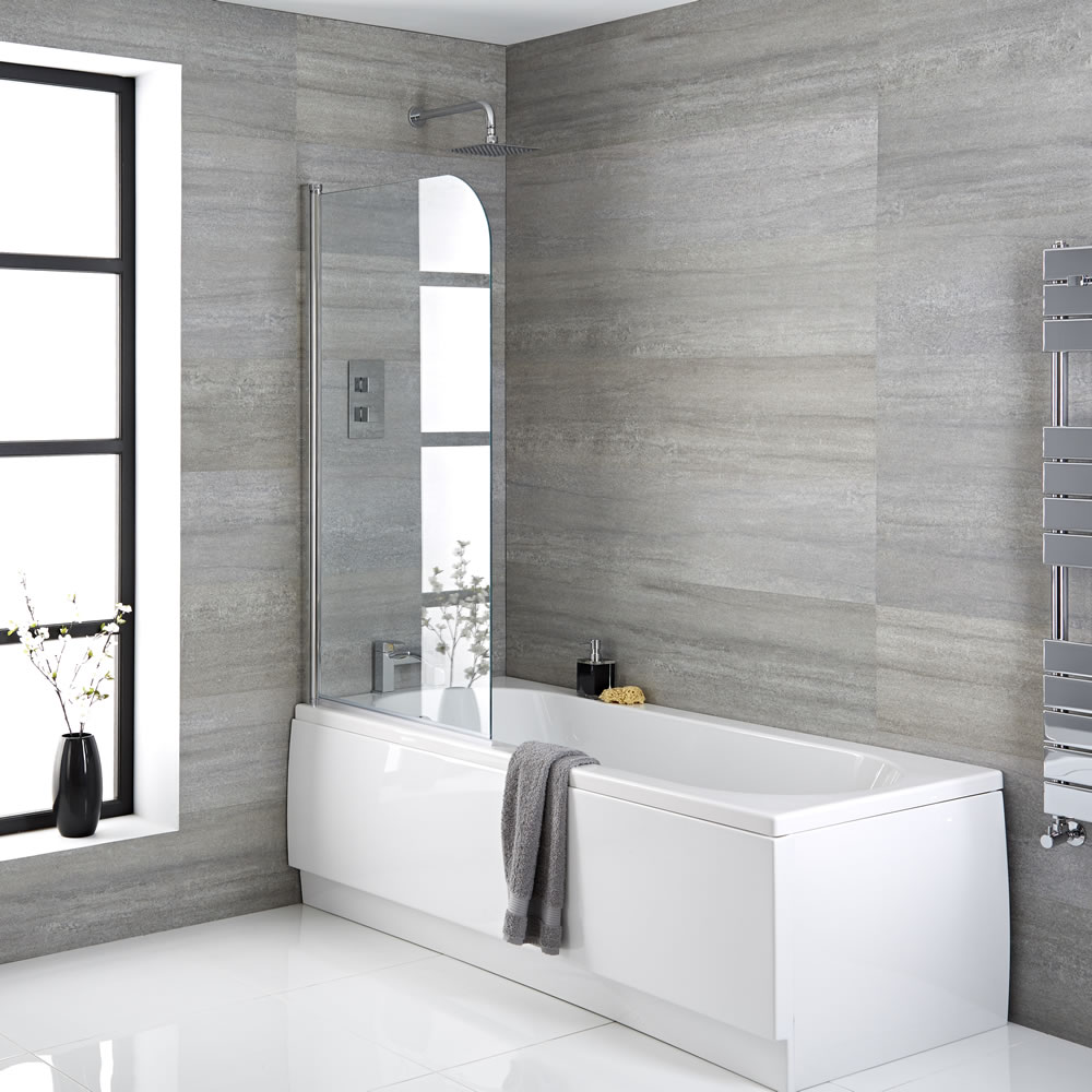 Milano Rivington - Modern Single Ended Standard Bath with Shower Screen and Panels - 1700mm