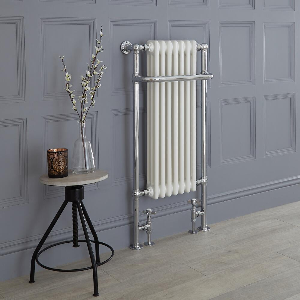 Milano Trent - Chrome and White Traditional Heated Towel Rail - 1130mm x 553mm