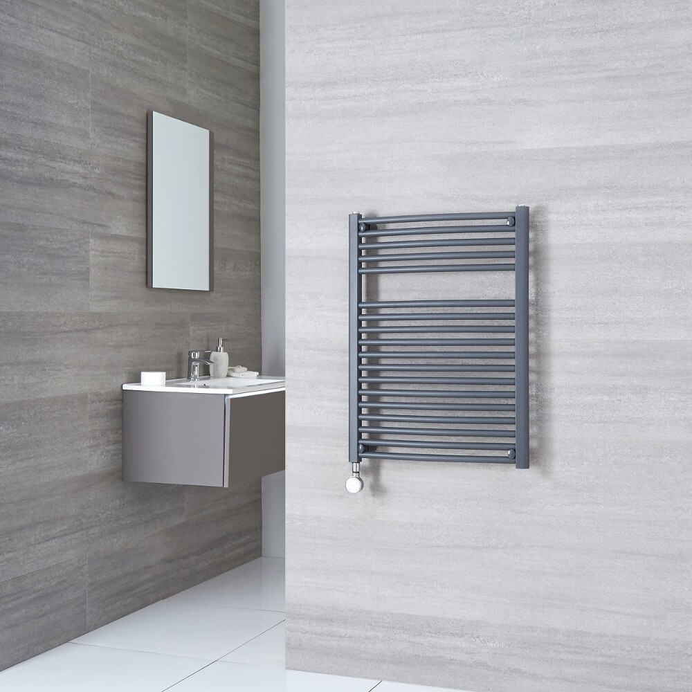 Milano Brook Electric - Anthracite Flat Heated Towel Rail - 800mm x 500mm