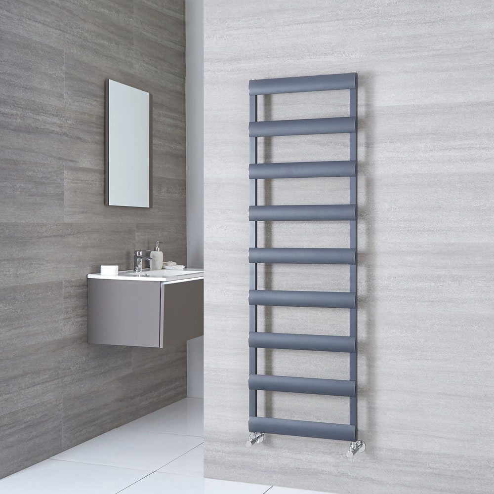 Milano Passo - Aluminium Anthracite Heated Towel Rail - 1590mm x 500mm