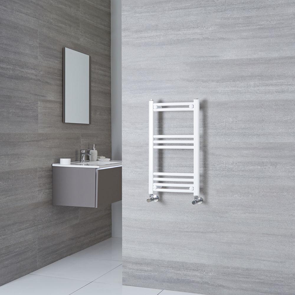 Milano Calder - White Curved Heated Towel Rail - 700mm x 400mm