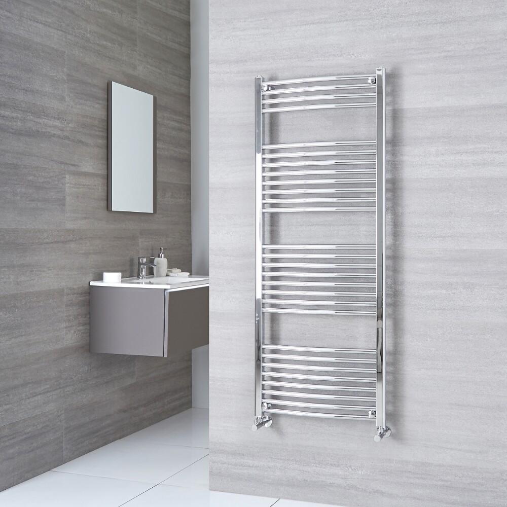 Milano Ribble - Chrome Curved Heated Towel Rail - 1500mm x 500mm