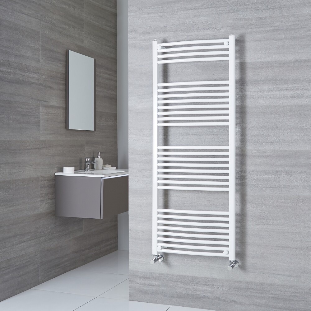 Milano Calder - White Curved Heated Towel Rail - 1500mm x 500mm