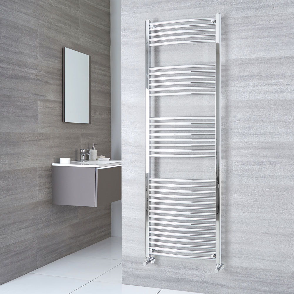 Milano Ribble  - Chrome Curved Heated Towel Rail - 1800mm x 600mm