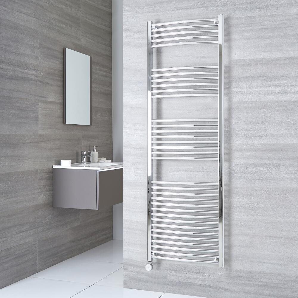 Milano Ribble Electric - Chrome Curved Heated Towel Rail - 1800mm x 600mm