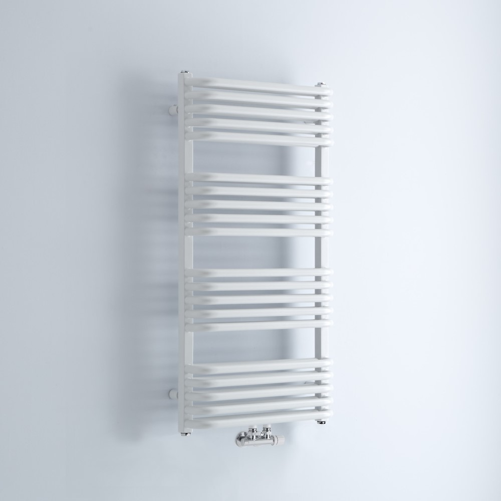Milano Bow - White D-Bar Heated Towel Rail - 1000mm x 500mm