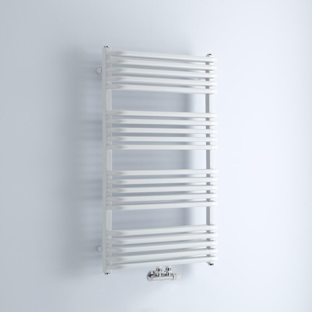 Milano Bow - White D-Bar Heated Towel Rail - 1000mm x 600mm
