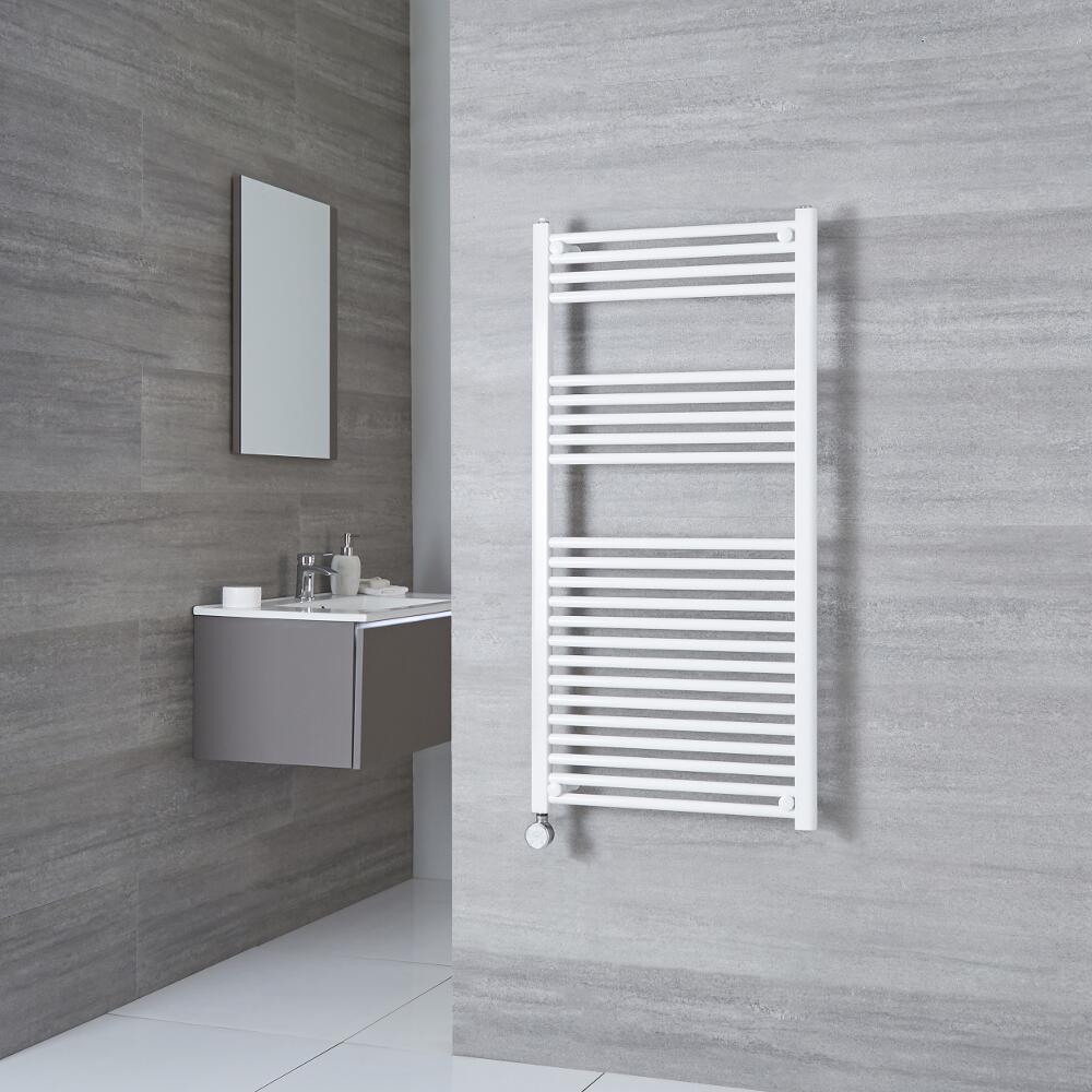 Milano Calder Electric - White Flat Heated Towel Rail - 1200mm x 500mm