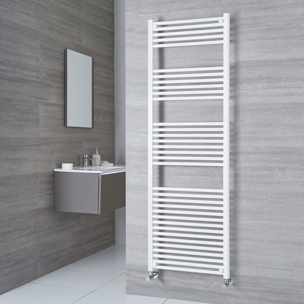 Milano Calder - White Flat Heated Towel Rail - 1800mm x 500mm