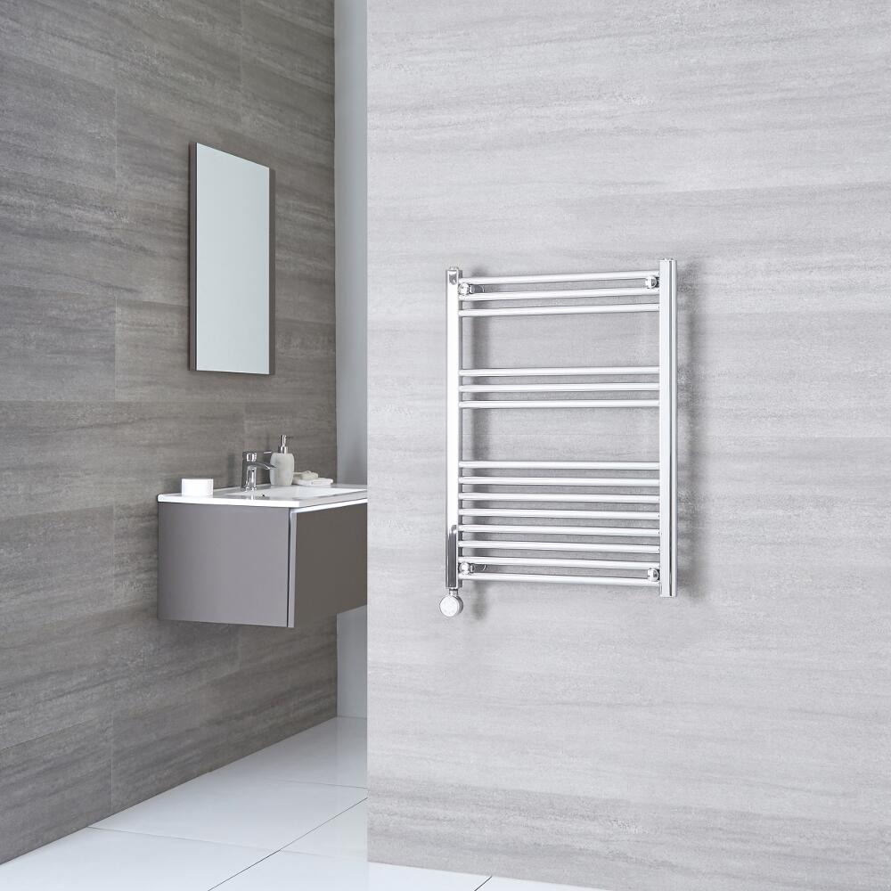 Milano Ribble Electric - Chrome Flat Heated Towel Rail - 800mm x 600mm