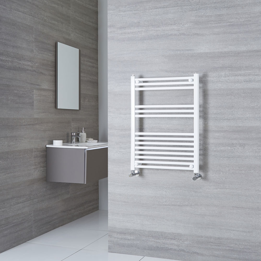 Milano Calder - White Flat Heated Towel Rail - 800mm x 600mm