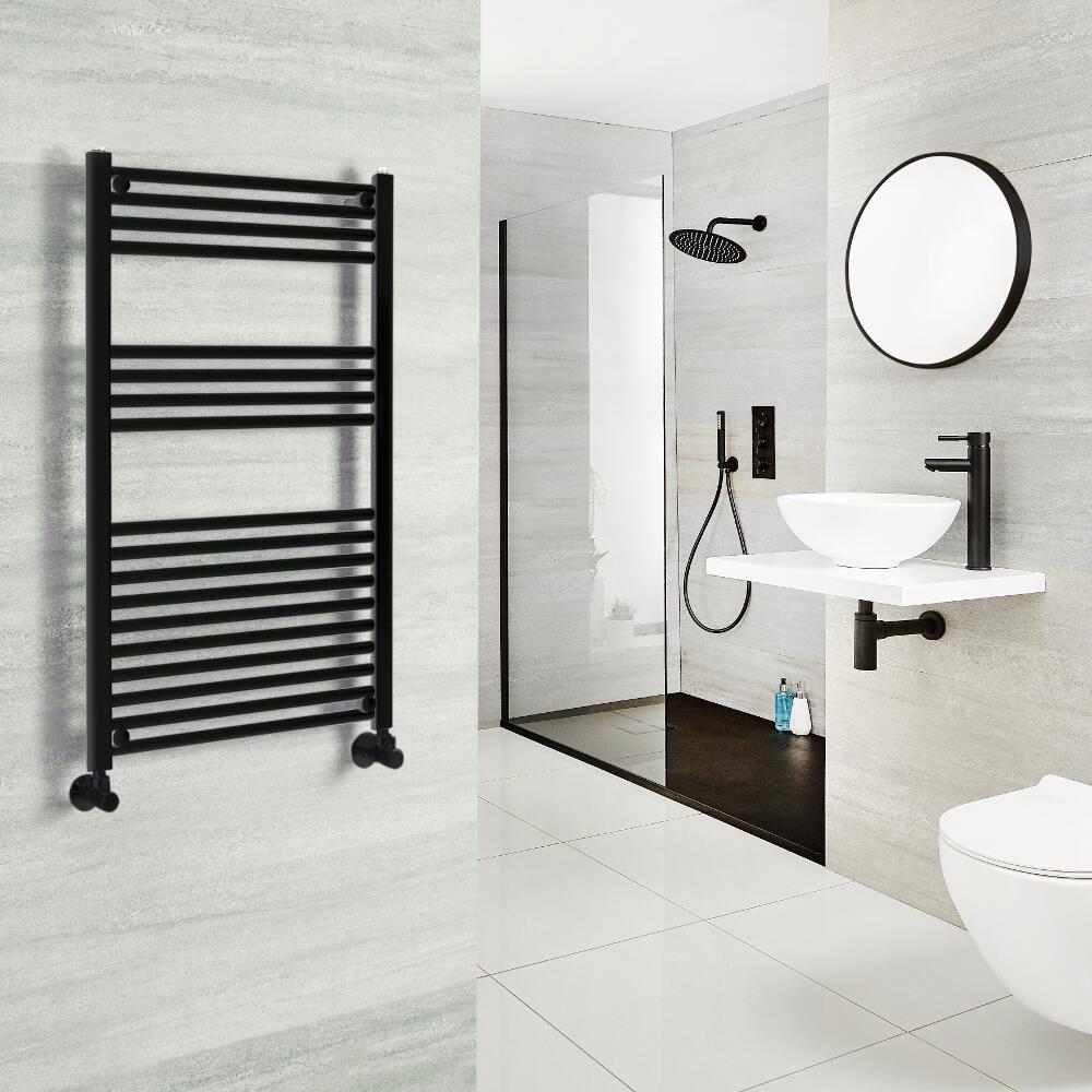 Milano Nero - Black Heated Towel Rail - Choice of Size and Valves