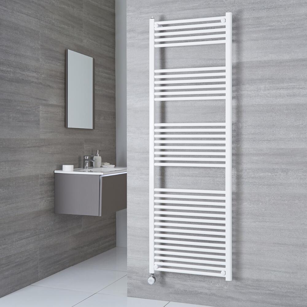 Milano Calder Electric - White Flat Heated Towel Rail - 1800mm x 600mm