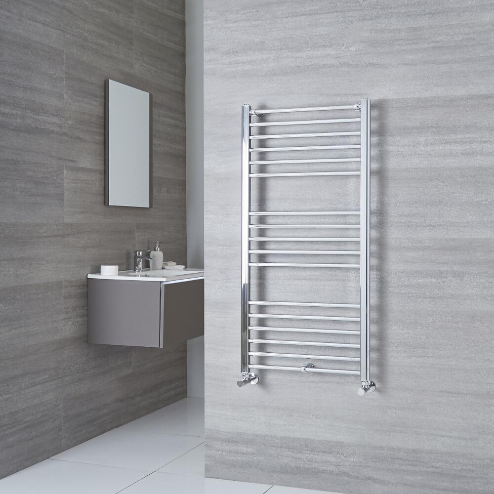 Milano Eco - Chrome Flat Heated Towel Rail - 1200mm x 500mm
