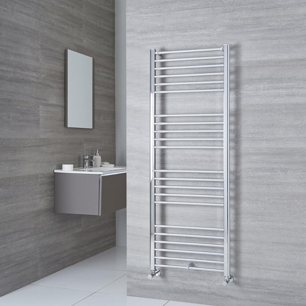 Milano Eco - Chrome Flat Heated Towel Rail - 1600mm x 500mm