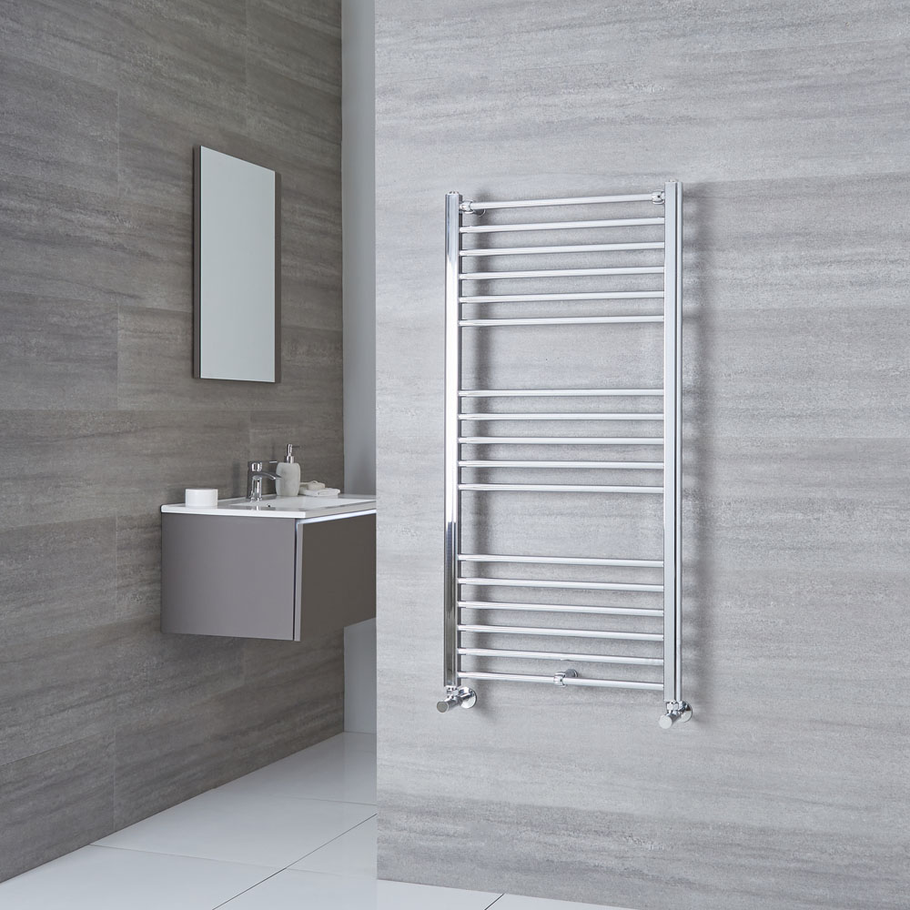 Milano Eco - Chrome Flat Heated Towel Rail - 1200mm x 600mm