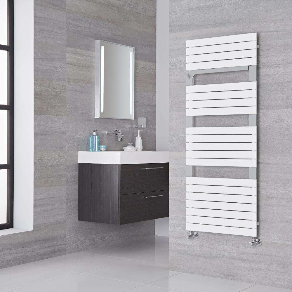 Lazzarini Way Torino - Mineral White Designer Heated Towel Rail - 1360mm x 550mm