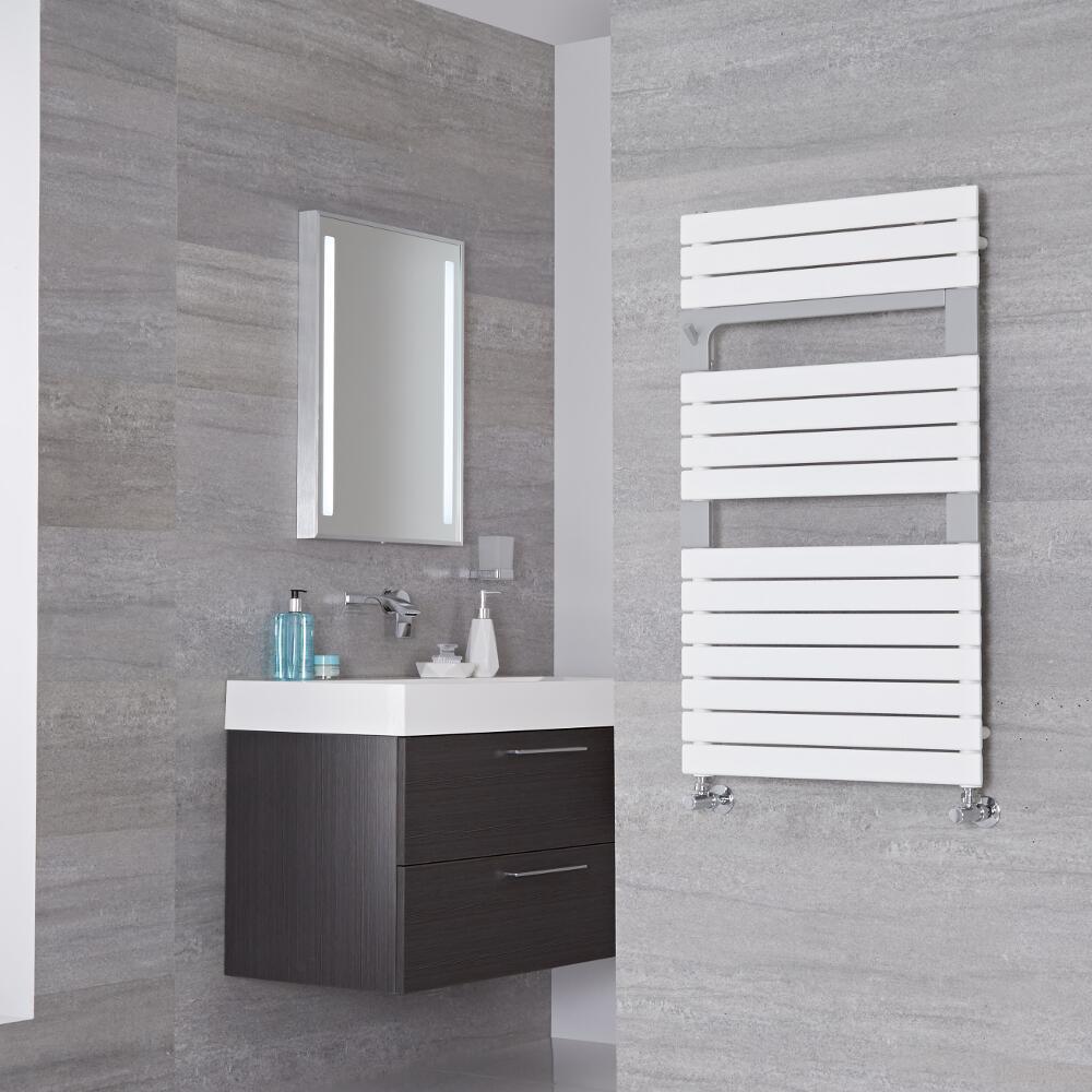 Lazzarini Way Torino - Mineral White Designer Heated Towel Rail - 952mm x 550mm