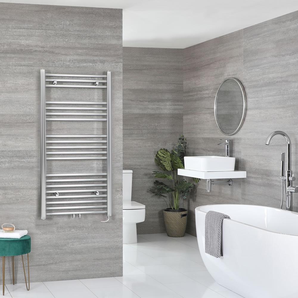 Milano Neva Electric - Chrome Heated Towel Rail - 1188mm x 600mm